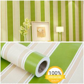 Wallpaper Dinding Murah Kamar Ruang Tamu Garis Hijau Putih Terbagus Terlaris Indah Elegan Minimalis