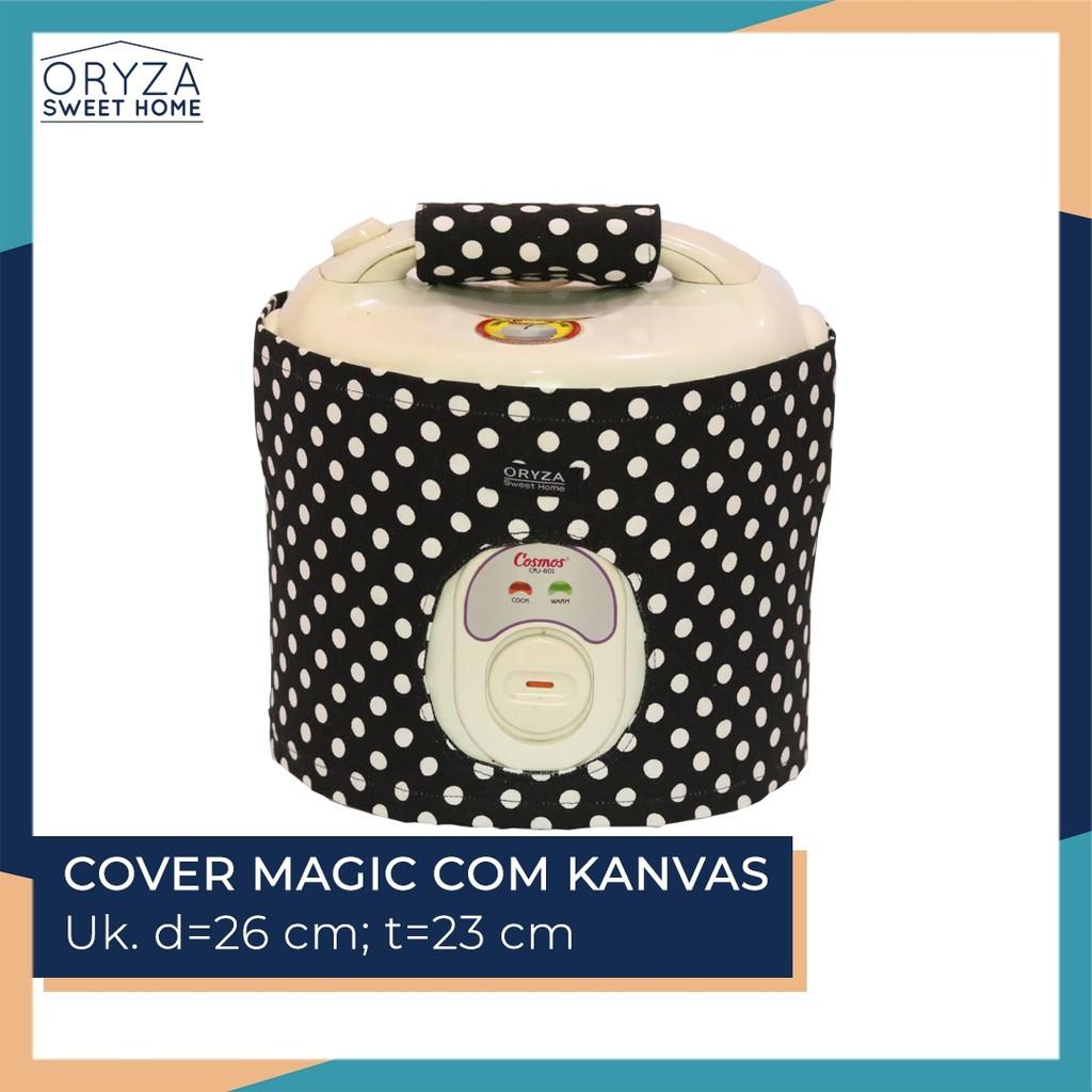Cover Sarung Tutup Magic Com / Rice Cooker (+Handle) - Motif Polkadot Hitam