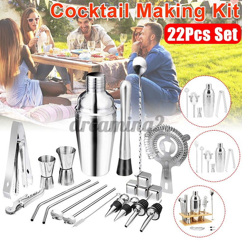 22pcs / Set Shaker Cocktail Bahan Stainless Steel Ukuran 550 / 750ml Untuk Bartender Dm