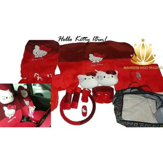 Car Set / Sarung Jok Hello Kitty 24 in 1 Bantal Mobil 24in1 HK - Merah / Hitam Polkadot (3 Baris)