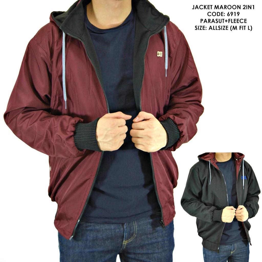 Jaket Bolak Balik Pria Bb Dc 2in1 Parasut Fleece Size L Xxl Baseball Karlit Button Shopee Indonesia