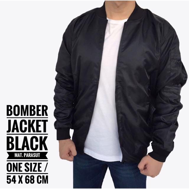 Jaket Bomber Army Pria Cowok Casual Warna Hitam   Bomber Jacket   Jaket  Parasut  6edcce9556