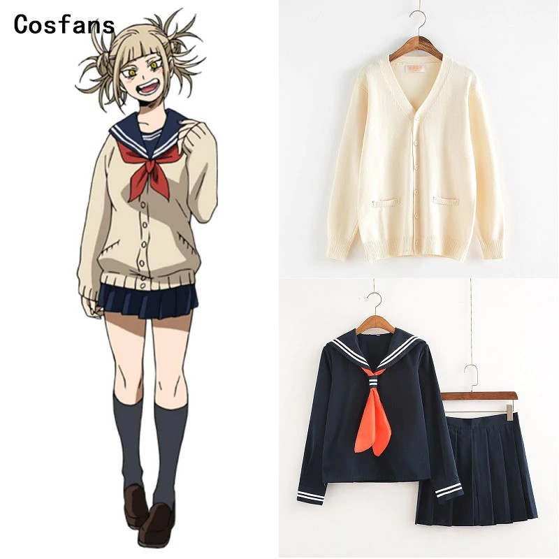 Boku no My Hero Academia Himiko Toga Cosplay Costume JK Sailor Suit Sweater