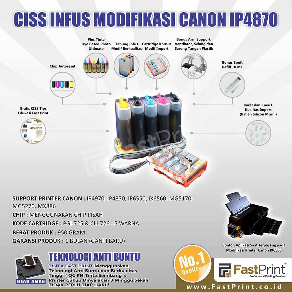 Ciss Infus Modifikasi Canon Ip4970 Ip4870 Ip6550 Ix6500 Ix6560 Ink Tank Modif 4 Warna 100ml Tabung Model Sepatu Mg5170 Mg5270 Mx886 Plus Tinta Shopee Indonesia