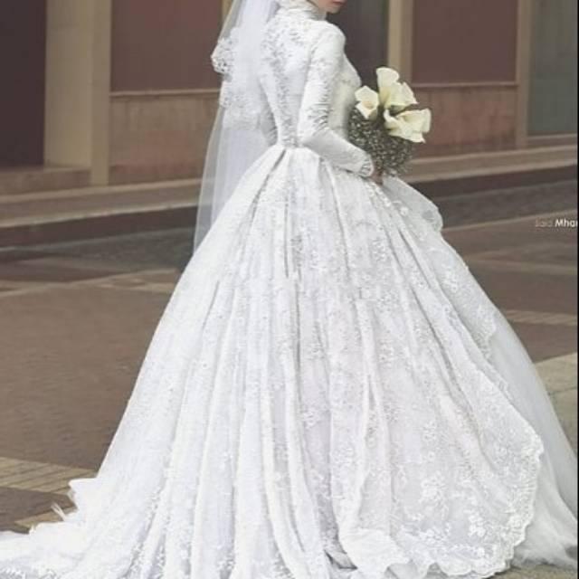 Gaun Wedding Pengantin Putih Arab Lengan Panjang Gliter Jilbab Muslim Shopee Indonesia