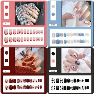 24pcs Kuku Palsu Lucu Dengan Lem Untuk Manicure R0102-R120 5