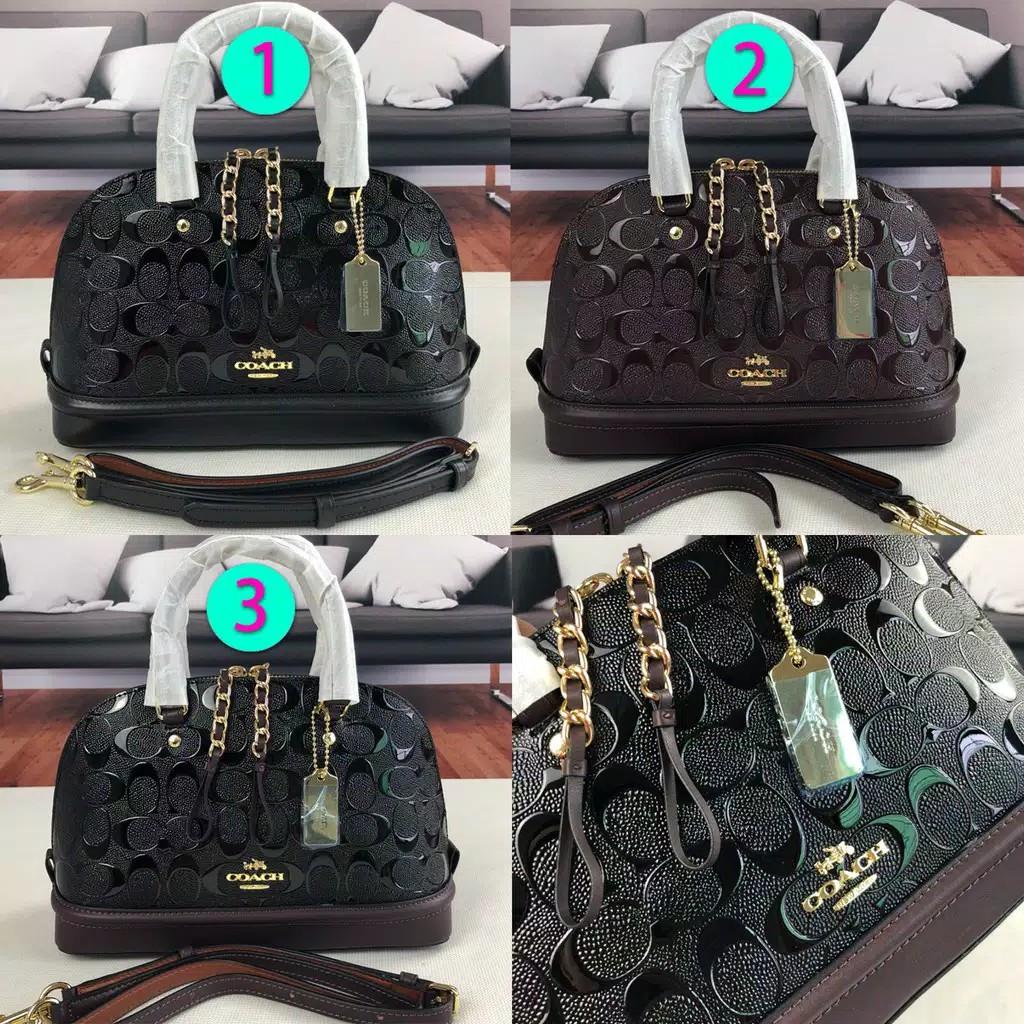Ready Stock JKT Coach 55450 Mini Debossed Patent Leather Sierra Oxblood