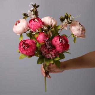 bunga mawar peony artificial dekorasi pesta buket wedding