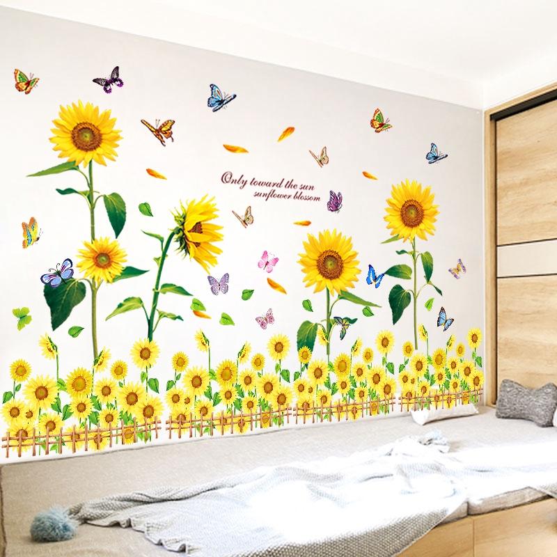 3d Tiga Dimensi Stiker Dinding Kamar Tidur Samping Tempat Tidur Wallpaper Bunga Matahari Stiker Hang Shopee Indonesia