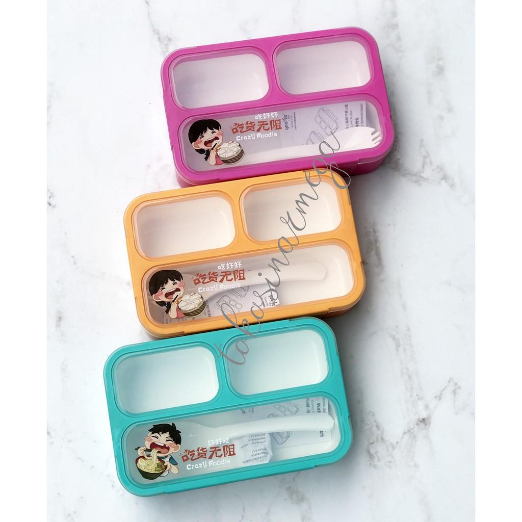 Lunchbox Mini Yooyee Sekat Tempat Makan Anti Bocor Kotak 4 Lunch Box Sup Bekal Grid Shopee Indonesia