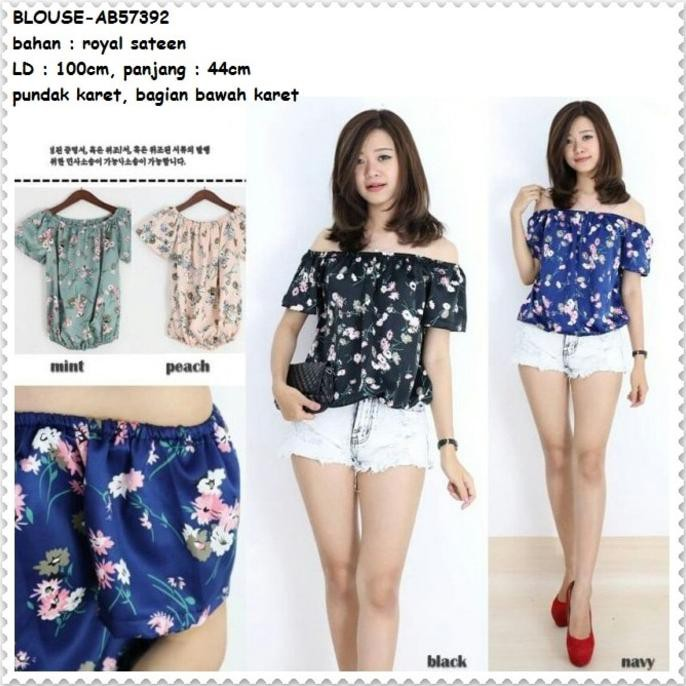 Fashion Baju Atasan Sabrina Blue Blouse Off Shoulder Denim Korea Jepang  Import HQ  614c5d9f9f
