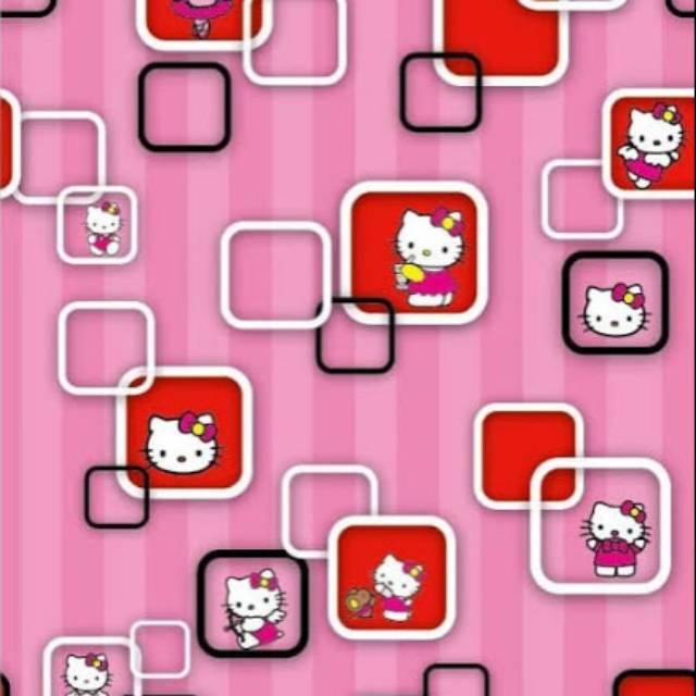 Grosir Murah Wallpaper Stiker Dinding Karakter Hello Kitty Kotak Warna Pink Shopee Indonesia