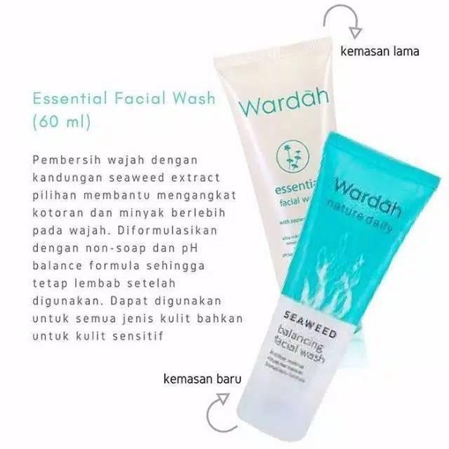 Wardah essential facial wash 60 ml / seaweed balancing face wash | Shopee Indonesia
