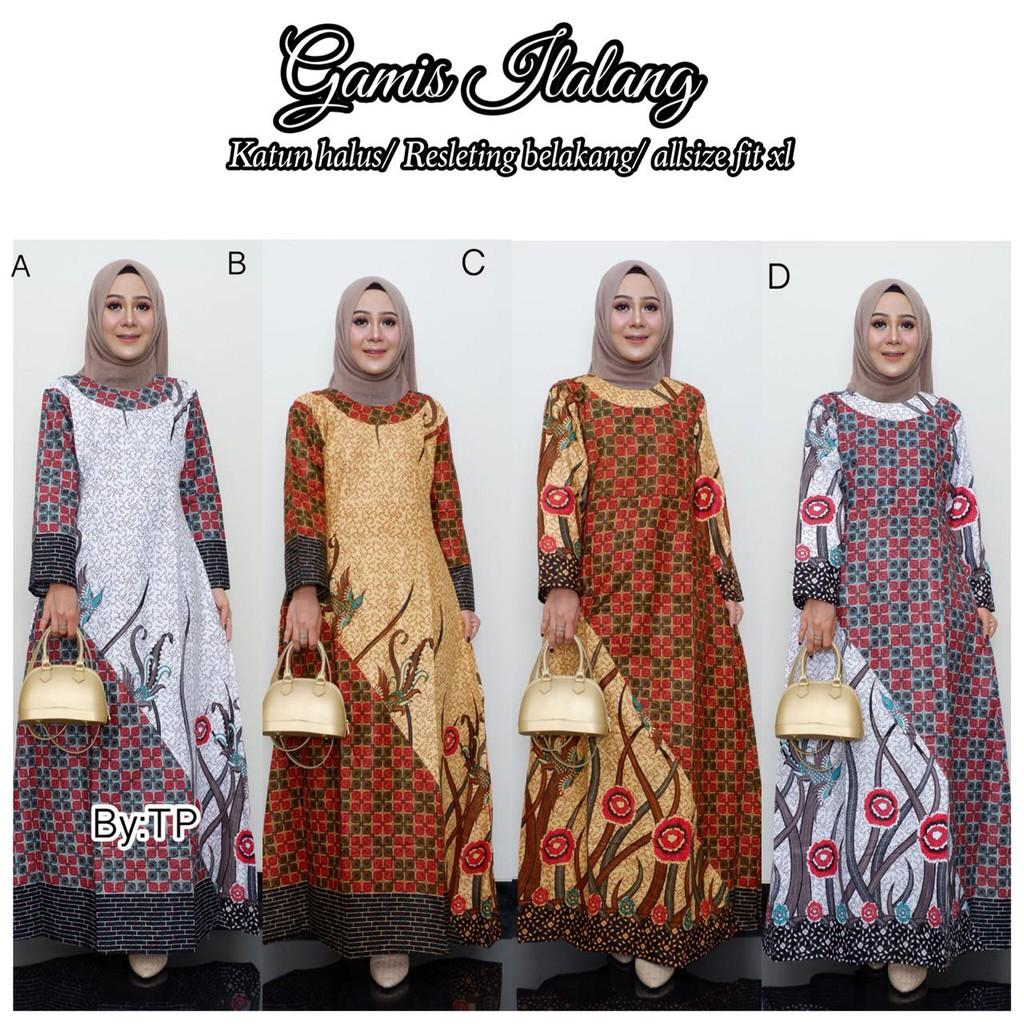 Gamis Batik Motif Ilalang Baju Muslim Batik Modern Gamis Batik Syar I Atasan Wanita Muslim Shopee Indonesia
