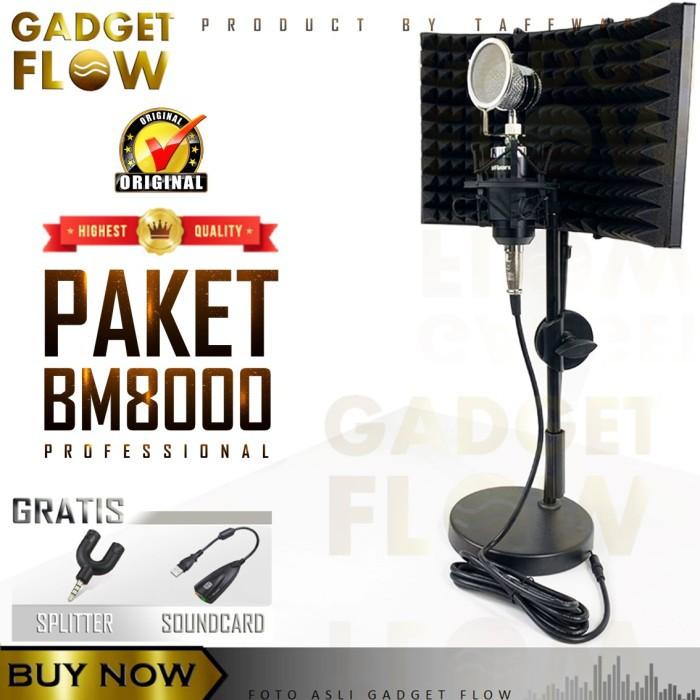 PAKET Mic BM8000 BM 8000 Full Set Reflection Filter Vocal Booth RODD