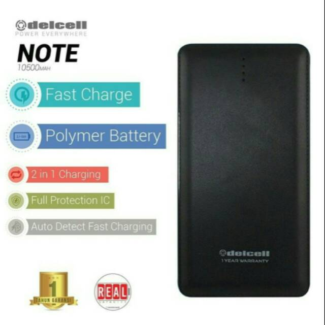 POWER BANK DELCELL NOTE POLYMER REAL CAPACITY 10500 mAh