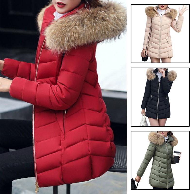 Womens Ladies Warm Long Coat Fur Collar Hooded Jacket Slim Winter Parka Outwear