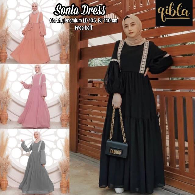 Dress Lengan Balon Dress Ceruty Premium Tali Pinggang Busui Original Qibla Shopee Indonesia