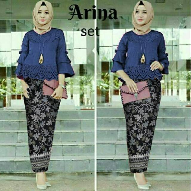 St Arinalaser Navy Atasan Korean Silk Motif Laser Cutting Digital Ld100 Pj60 Hanya Setelan Fit L