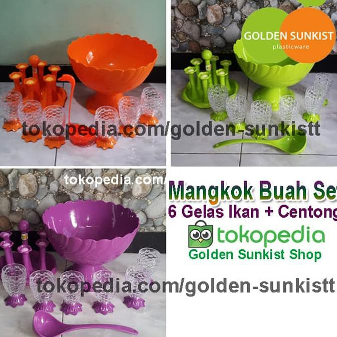 Mangkok Es Buah Set Golden Sunkist, Tempat Wadah Es Krim Set | Shopee Indonesia