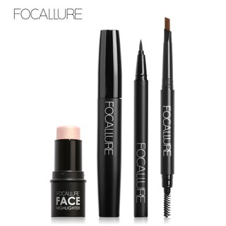FOCALLURE 4Pcs Set Maskara+Eyeliner Cair+Pensil Alis Sikat+Highlighter Warna Hitam thumbnail