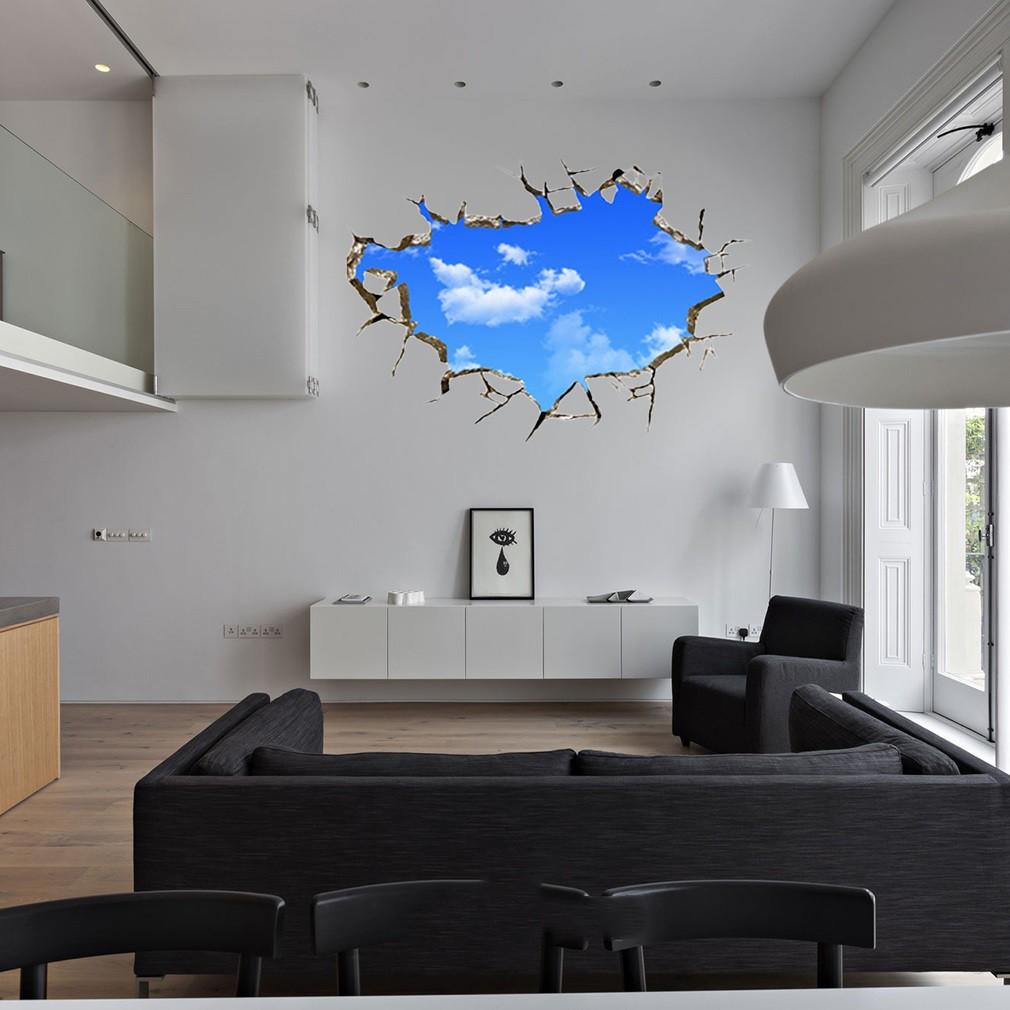 [Bayar Di Tempat]Baru Stiker Dinding 3D Bentuk Langit Untuk Ruang Tamu Dan Kamar Tidur