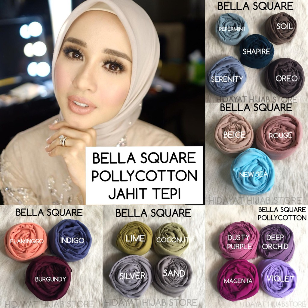Hijab Pollycotton 4 Bella Square Hijab Poton Hijab Segiempat