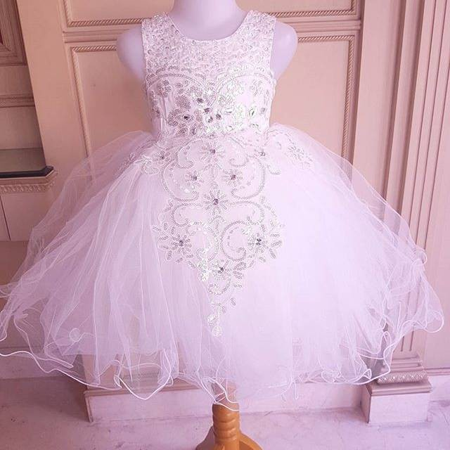 GA2550 PREMIUM LOUISE DRESS WHITE /gaun pesta baptis anak perempuan tutu putih wedding birthday | Shopee Indonesia