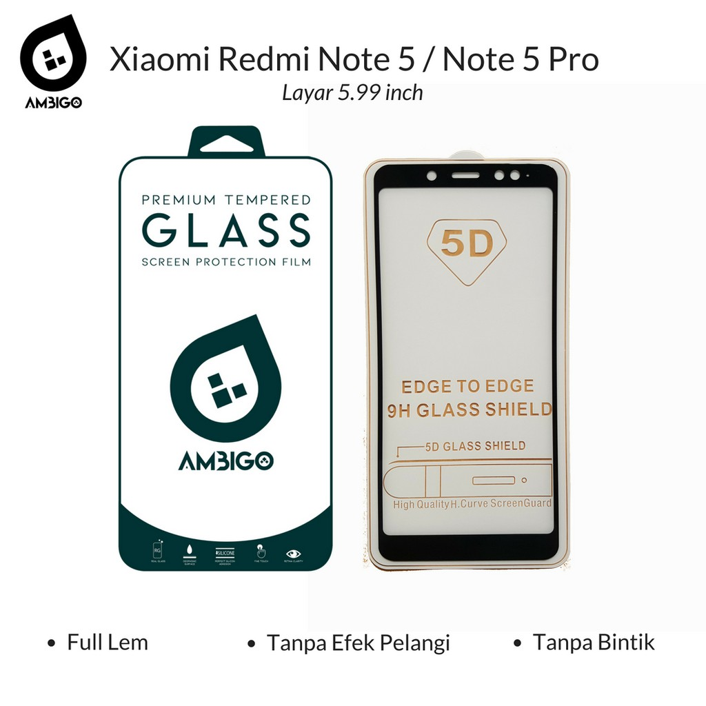 Premium 5D Full Cover Tempered Glass Warna For Xiaomi Redmi Note 4X / Note 4 Snapdragon | Shopee Indonesia