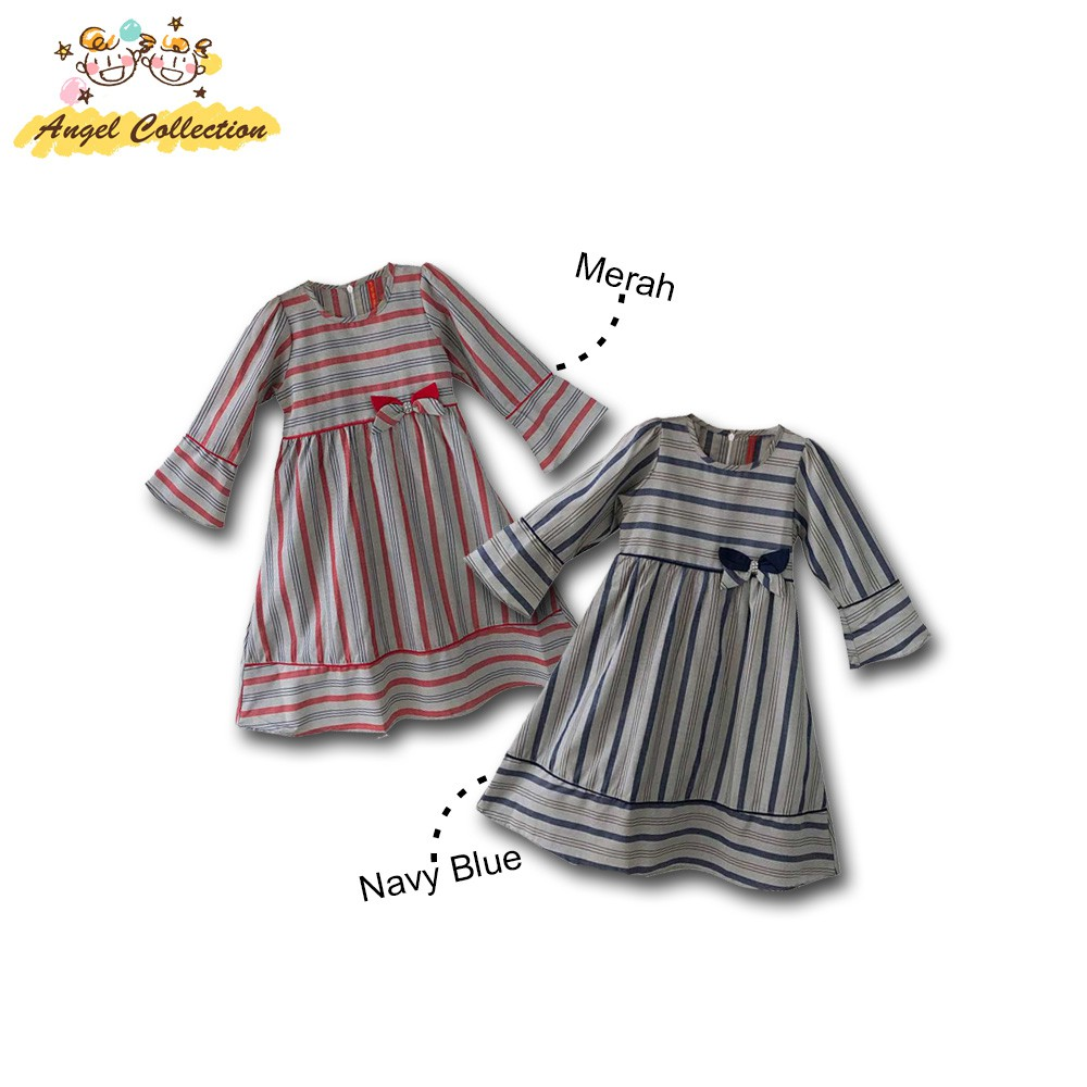 Angel Collection Gamis Anak Motif Garis Nusantara Bahan Katun Premium (Free  Jilbab)