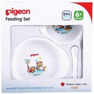 Pigeon FEEDING SET Mini - Paket Tempat Makan Bayi - KEMASAN BARU ! 6M + BPA FREE