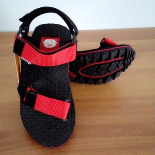 Sandal Gunung Anak Unisex Laki Laki Cowok Perempuan Hitam Merah Kombinasi Catenzo Junior .