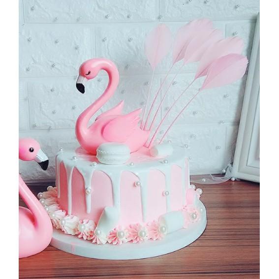 Topper Cake Bulu 3pc Angsa Hiasan Kue Ulang Tahun Tema Pink Goose Shopee Indonesia