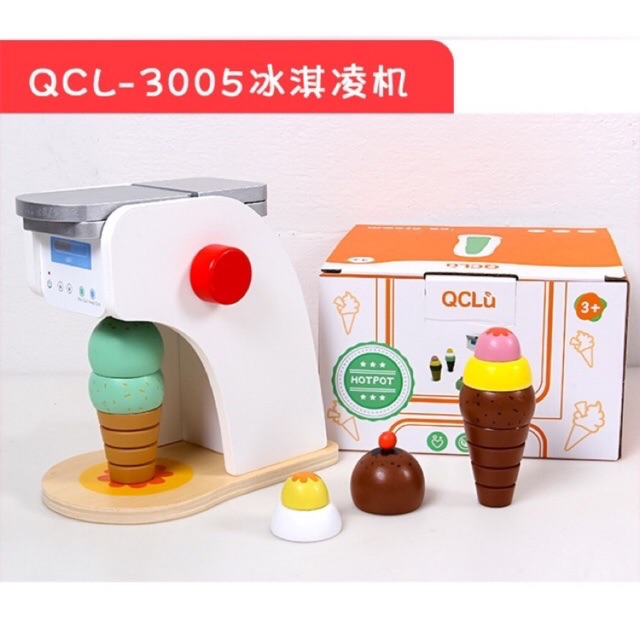 Ice Cream Machine Wooden Toys Set Shopee Indonesia
