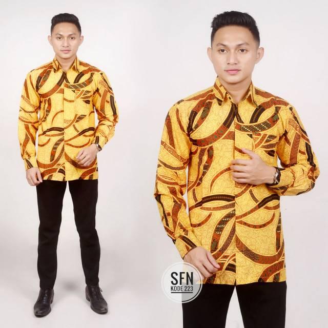 Kemeja hem batik cowok warna kuning coklat klasik minimalis sederhana