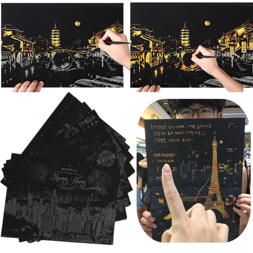 Kertas Gosok Scratch Gambar Pemandangan Kota Besar Populer Untuk Mainan Anak
