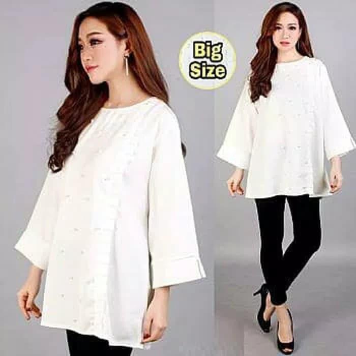 f259e757d ... CUCI GUDANG !! jumbo bigsize baju atasan wanita xxxl 3xl blouse kemeja  tunik putih ...