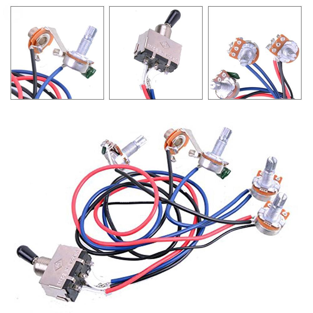 Electric Guitar Wiring Harness Kit 2V2T 3-Way Switch for Guitar Parts on guitar lights, guitar cable, guitar toggle switch, guitar pots, guitar battery box, guitar frame, guitar decals, aircraft wire harness, guitar tailpiece, bass guitar harness, guitar fender,