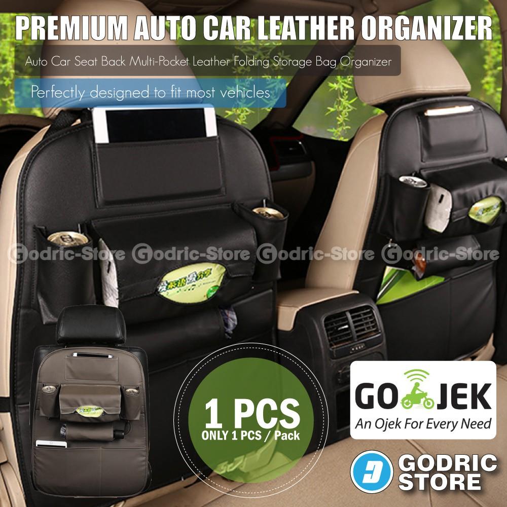 Leather Premium Auto Car Organizer Tas Jok Rak Kulit Elegant Tempat Tissue Mobil - Hitam | Shopee Indonesia