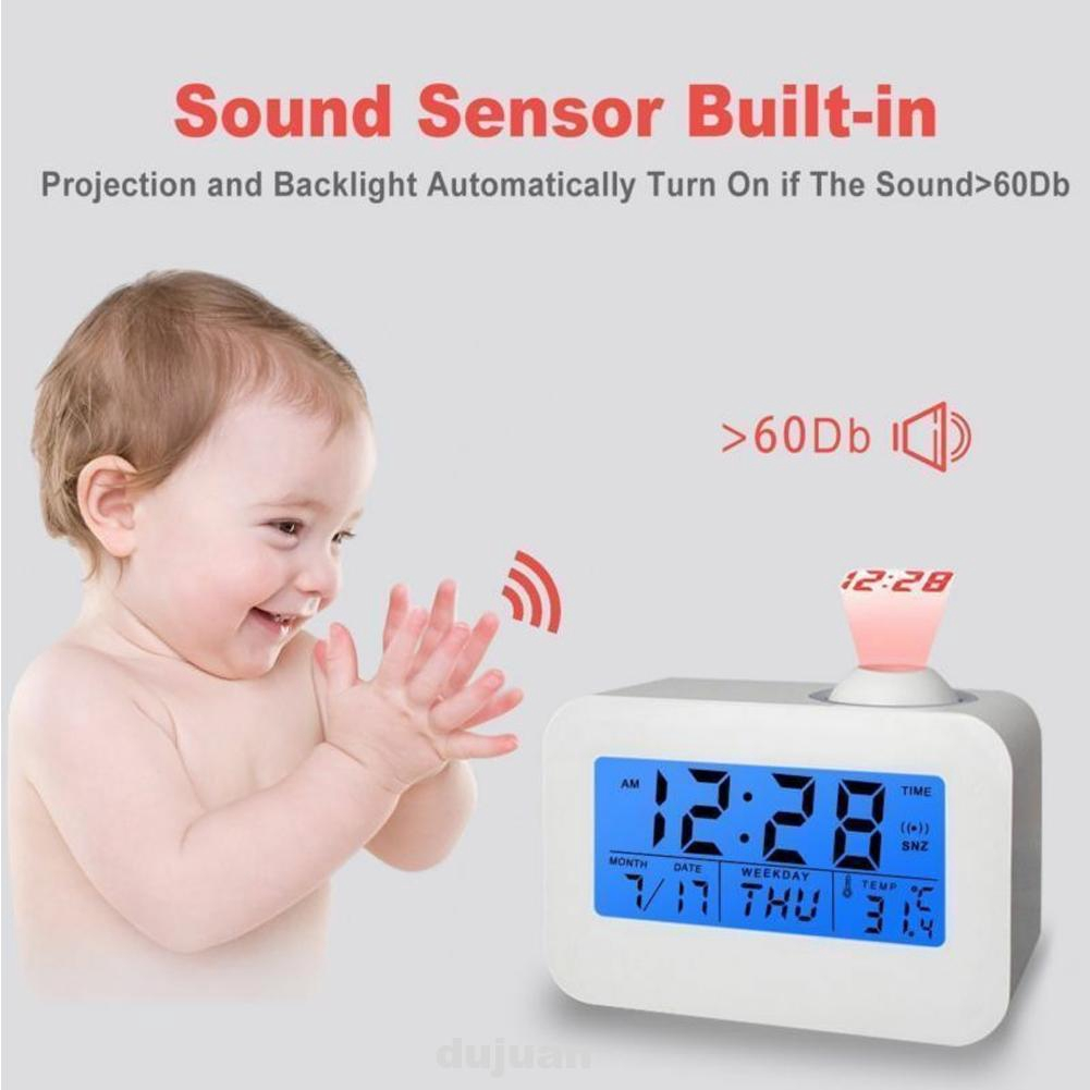 Projection Alarm Clock Temperature Date Digital Clock for Travel Home Bedroom LCD Display Projection Ceiling Wall Clock Snooze