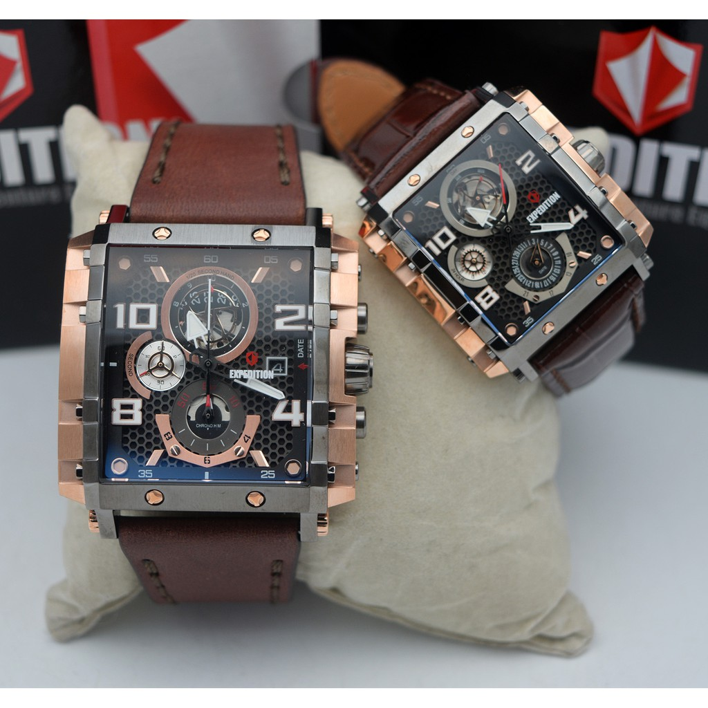 Expedition E6402 Rose Gold Black Couple Leather Brwon Shopee Indonesia E6372 Brown