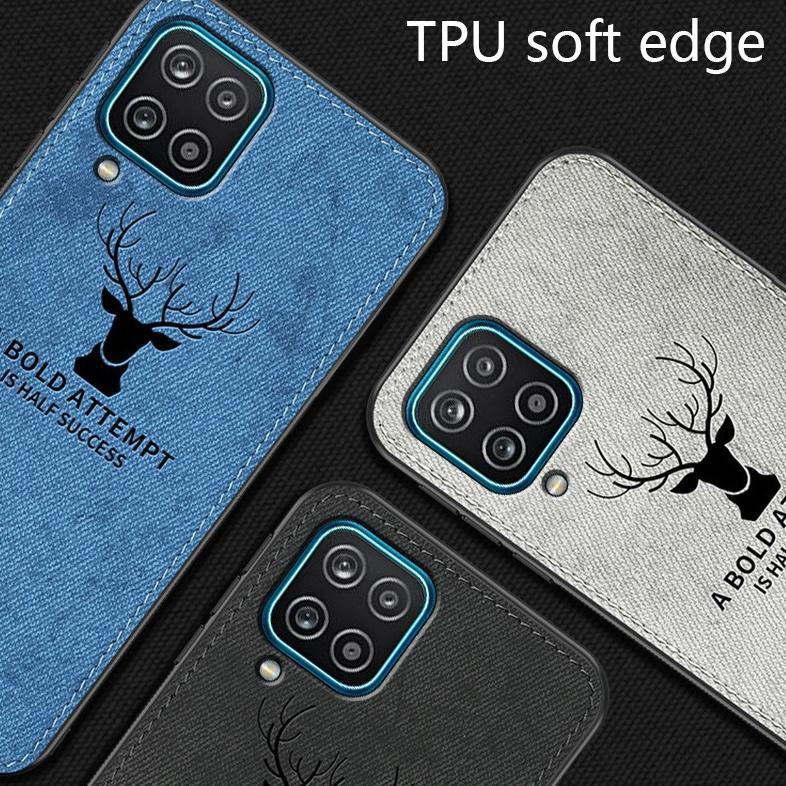 Case Samsung A12 Cloth Leather Deer Case Premium Softcase Casing (KODE Z606)
