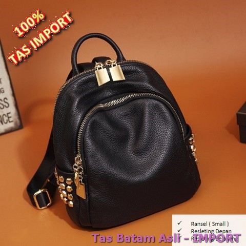 Korea Fashion Style kulit lembut perempuan baru Shinebager tas ransel (Hitam [202 merajut bunga