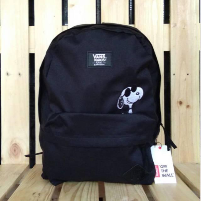 Tas Backpack Vans x Peanuts Snoopy Old Skool Black (Mirror 1:1)