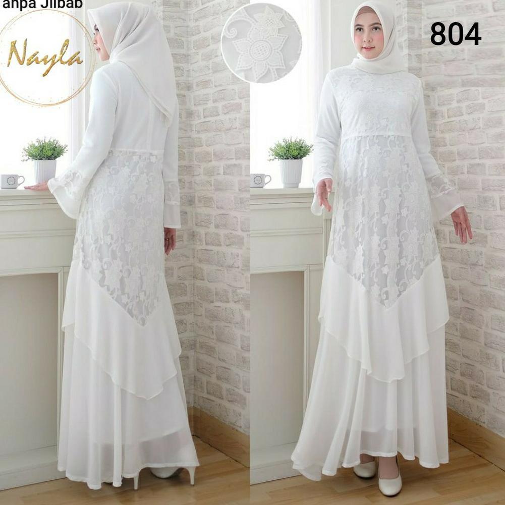 Fresh NAYLA Baju Gamis Putih Wanita Gamis Pesta Busana Muslim Syari Brukat  Lebaran Umroh Murah ::