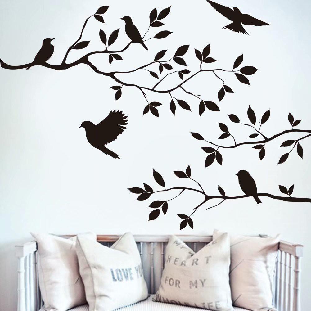 Stiker Dinding Dengan Bahan PVC Gambar Pohon Dan Bunga Warna Hitam Untuk Dekorasi Rumah
