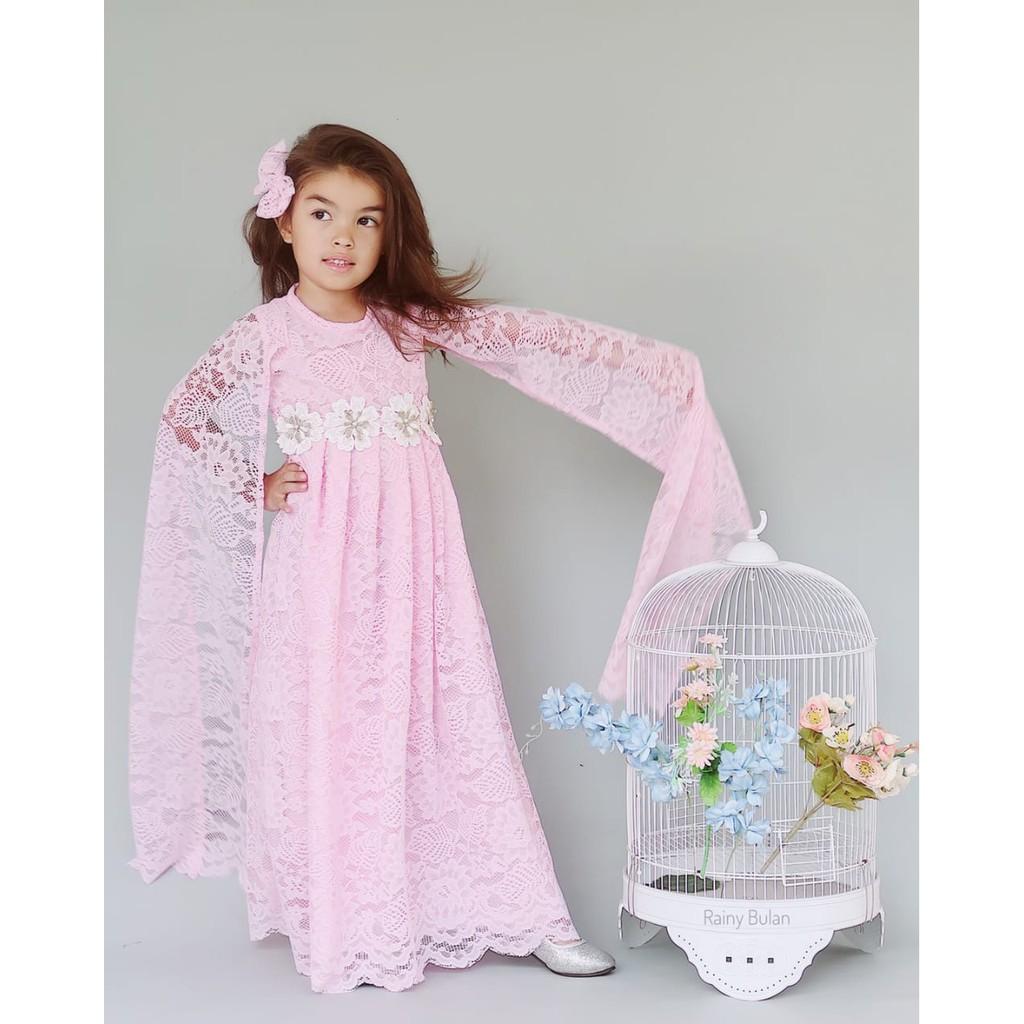 DRESS ANAK BROKAT MODERN CAPE FROZEN WARNA BABY PINK