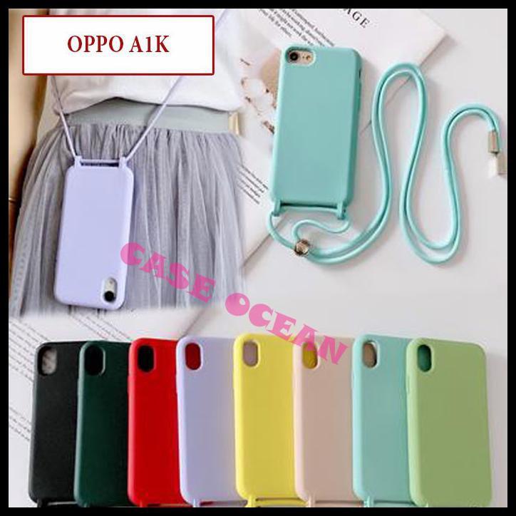 Oppo A1K Soft Case Candy Silikon Casing Sling Lanyard Tali Cute Pastel