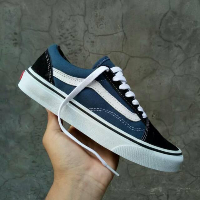 005845b0a8c1db Sepatu Vans OldSkool Navy Blue White Original PREMIUM Made In China Waffle  DT