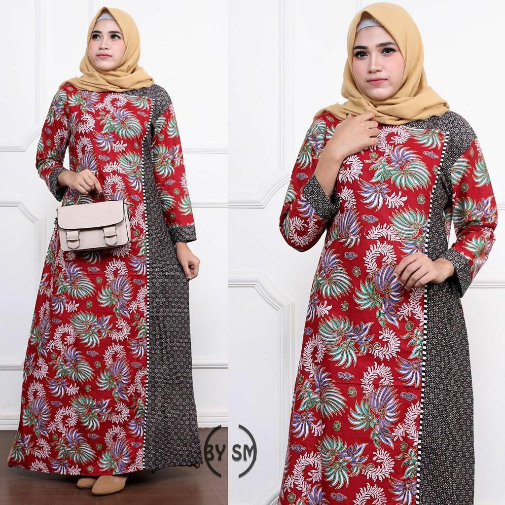 Cod Gamis Wanita Jumbo Baju Gamis Batik Model Terbaru Modern Busana Muslim Gamis Murah Original